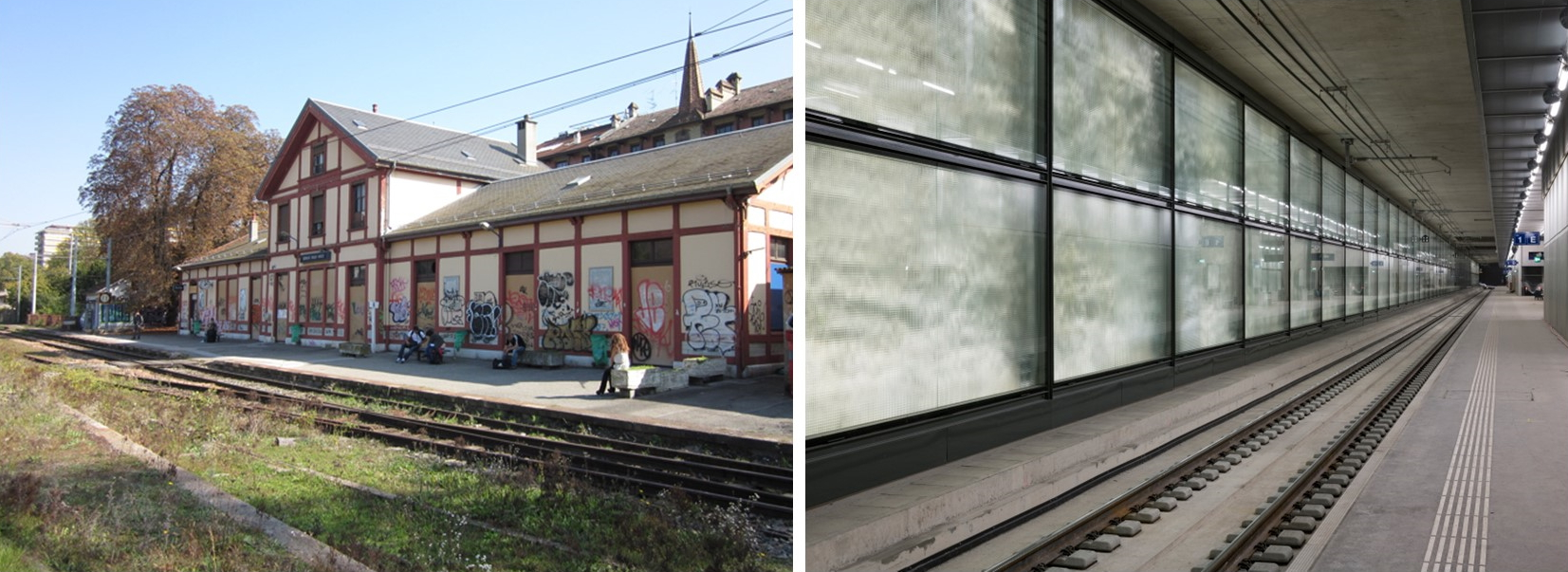 Before. How Eaux Vives station used to look before the transformation