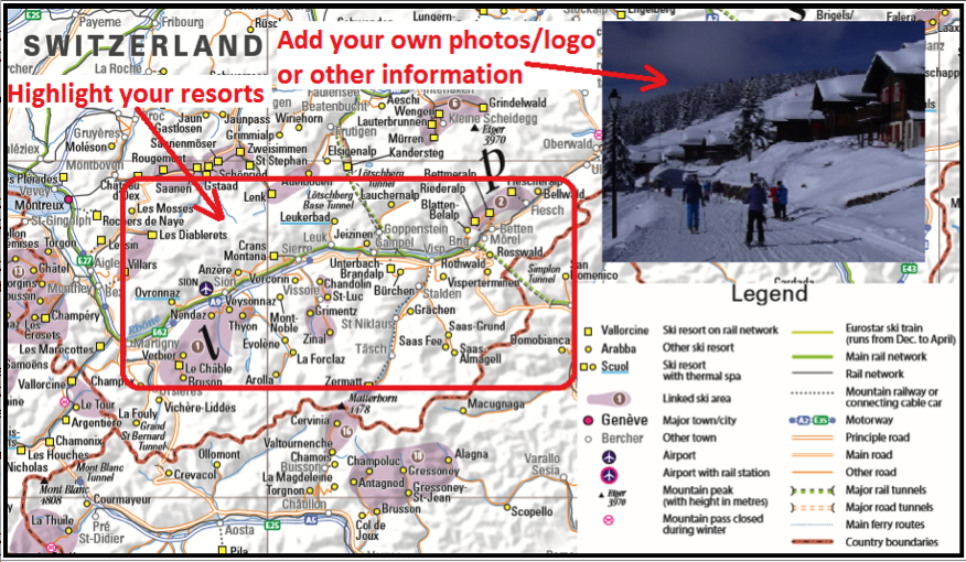 Please Contact Us Or Give Us A Call On 01923 210909 To Discuss Your Requirements Some Customised Examples Based On The Ski Resort Map Of