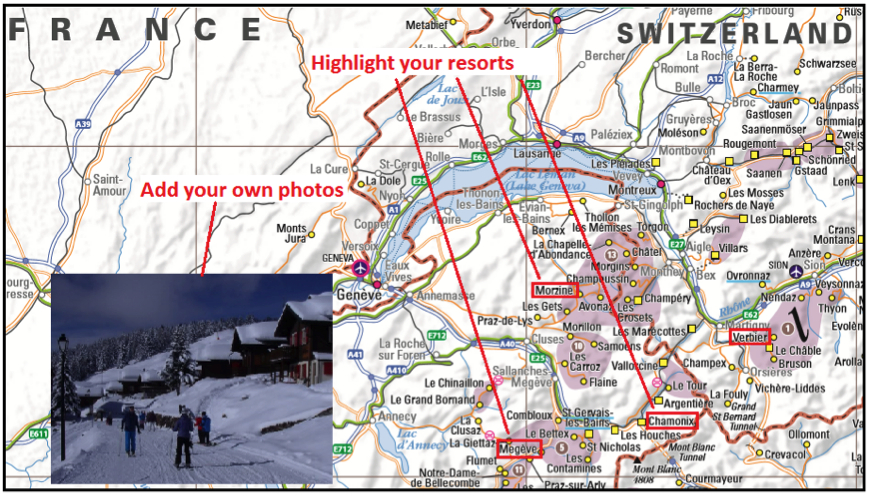 Map Of The Alps In France.Customised Ski Resort Map Of The Alps