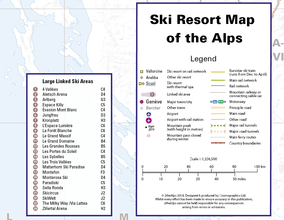 Ski Resort Map of the Alps front cover